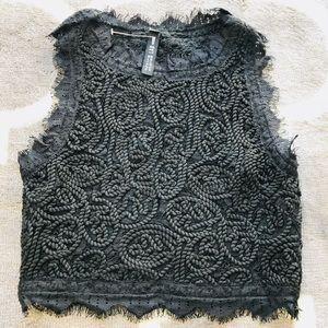 ⭐️Design Lab black crop embroidered top NWT SP